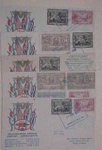 NICARAGUA  5 DIFF. FLIGHTS 1943  STAEHLE CACHETS