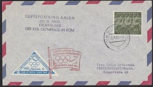 GERMANY 1960 Olympic Games flight cover to Rome - with cinderella...........H311