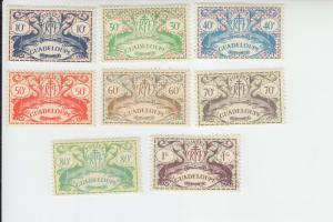 1945 Guadeloupe Dolphins (Scott 168-75) MHR