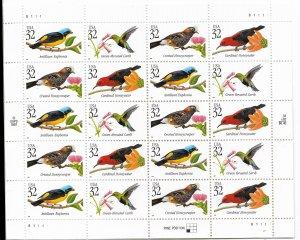 USA 3222-3225 MNH SHEETS BIRDS