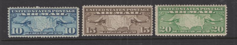 US 1926 - 7 Air Post Stamp Set Map & Planes Scott C7-C9 3 Stamps MNH