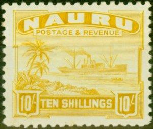 Nauru 1924 10s Yellow SG39A Fine Very Lightly Mtd Mint