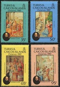 Turks & Caicos Scott 719-22 MVFNHOG - 1987 Christmas/Illuminations - SCV $10.50