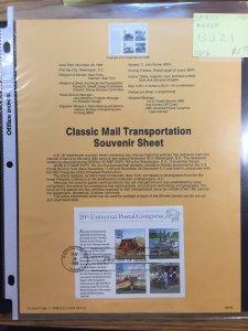 US #SP870 / #2438 Classic Mail Transportation Souvenir Sheet