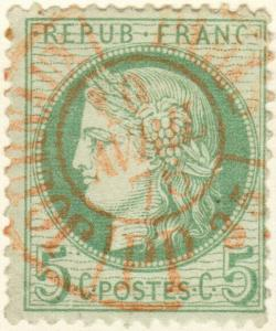 FRANCE - 1875 - Yv.53 oblitéré CàD JOURNAUX PARIS / PP35 rouge - cachet superbe