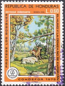 Honduras # C#6 used ~ 60¢ Stag In Forest