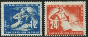GERMANY DDR GDR Sc#68-69 1950 Mining Complete Postally Used & OG Mint Hinged