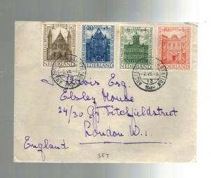 1948 Netherlands Cover to England complete Set # B185-B188