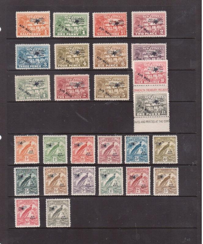 New Guinea #C1 - #C13 & #C14 - #C27 Very Fine Mint Lightly Hinged Sets