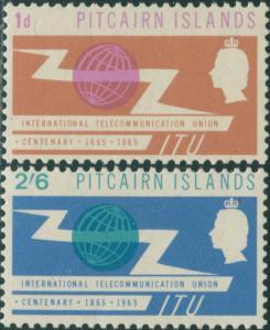 Pitcairn Islands 1965 SG49-50 ITU emblem set MLH