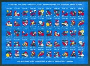 Denmark Christmas Sheet Unfolded Mnh 2011. Self-Adhesive. Santa,Cat,Pig.Beer.Fun