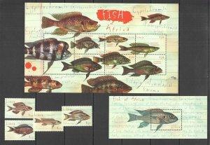G0796 LIBERIA FAUNA MARINE LIFE FISH OF AFRICA !!! 1KB+1BL+1SET MNH