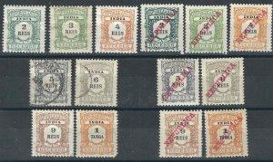 Portuguese India 14 Dues MH/U F/VF 1904-11 SCV $11.00