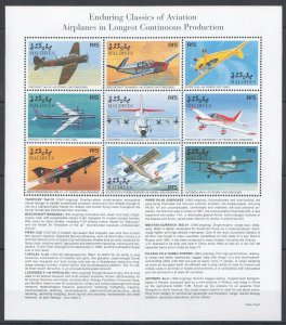 Maldives MNH S/S Classics Of Aviation Airplanes 9 Stamps