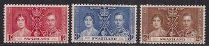Swaziland 1937 KGV1 Set 3 Coronation Umm SG 25 - 27 ( D1191 )