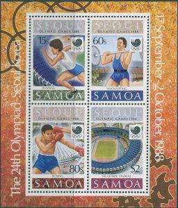 Samoa 1988 SG787 Olympic Games MS MNH