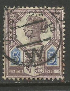 GB 1888 QV 5d Purple/Blue DIE 2 Jubilee SG 207a 1898 Pmk ( C370 )