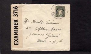 Ireland Irish Censored Stamp Cover to Jamaica Plains Massachusetts MA Mass