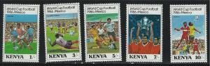 Kenya SC369-373 1986 WorldChampionshipSoccer-Dribbling-PenaltyShot-TaklingMNH