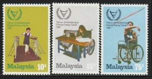 MALAYSIA 1981 International Year of Disabled Persons 3V MLH SG#220-222