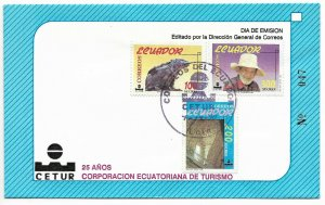 ECUADOR 1990 TOURISM CORPORATION 25 YEARS FAUNA PEOPLE BUILDINGS FDC COVER
