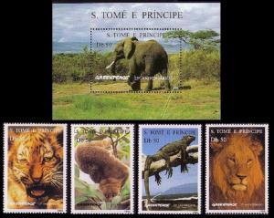 Sao Tome Wild Animals Elephant Tiger Lion 4v+MS MI#1676-1679+Block 531