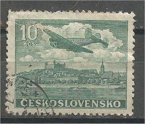 CZECHOSLOVAKIA, 1946, used 10k, Plane Scott C22