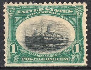 U.S. 294, 1cent PAN-AMERICAN EXPOSITION SINGLE. UNUSED, NO GUM. F-VF. (333W)