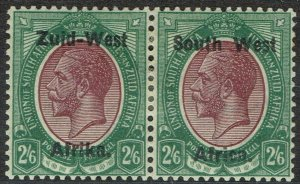 SOUTH WEST AFRICA 1923 KGV 2/6 SETTING I PAIR