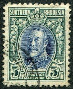 SOUTHERN RHODESIA-1931-37 5/- Blue & Blue-Green Sg 27 FINE USED V48911