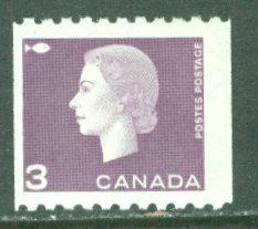 Canada # 407 QE II 3c COIL   (1) Unused VLH