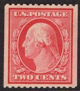 US Stamp #349 Two Cent Washington Coil MINT Hinged SCV $100. Superb centering.