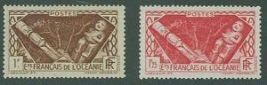 Polynesia SC# 103-4 Polynesian Idols, 1fr. 1fr25,  MH