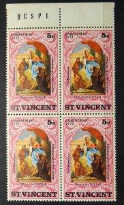 ST VINCENT 1971 SG# 320 Christmas The Madonna Block x 4 MNH OG
