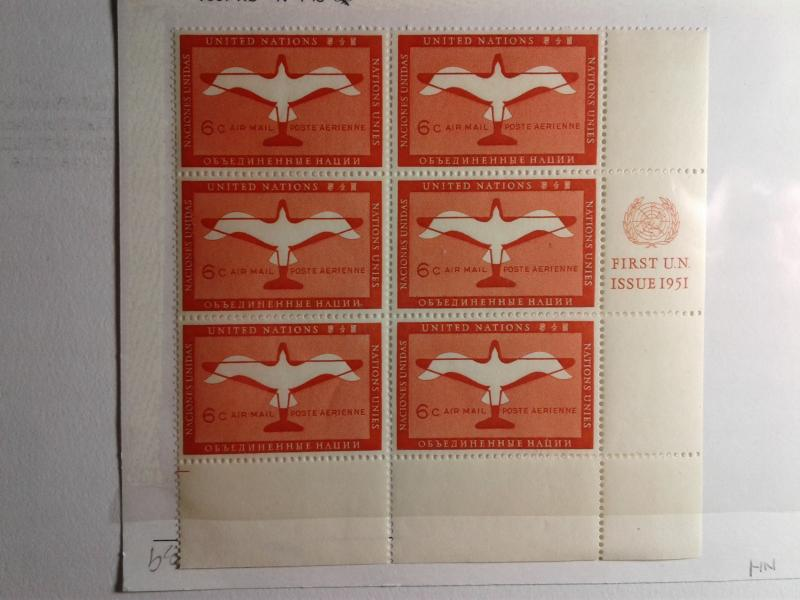 SCOTT # C1 PLATE BLOCK OF 6 MINT  AIR MAIL NEVER HINGED  1951 GEM