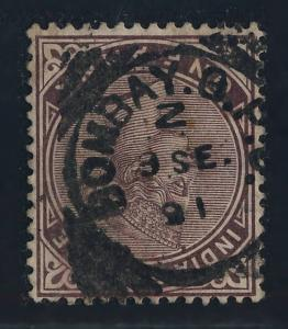INDIA 1891 BOMBAY G.P.O. (Code Z) SQUARED CIRCLE DATE STAMP ON SG88