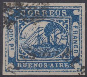 ARGENTINA BUENOS AIRES 1858 STEAMSHIP BARQUITOS Sc 2 SPERATI FORGERY USED VF