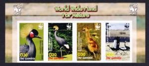 Gambia Birds WWF Black Crowned Crane Strip of 4v imperf WWF Logo SG#4920-4923