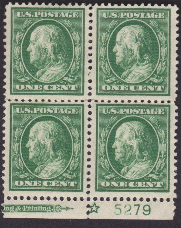 United States #331 1c Franklin, Blk of 4 w/ Imprint, Mint H OG Weak Perf