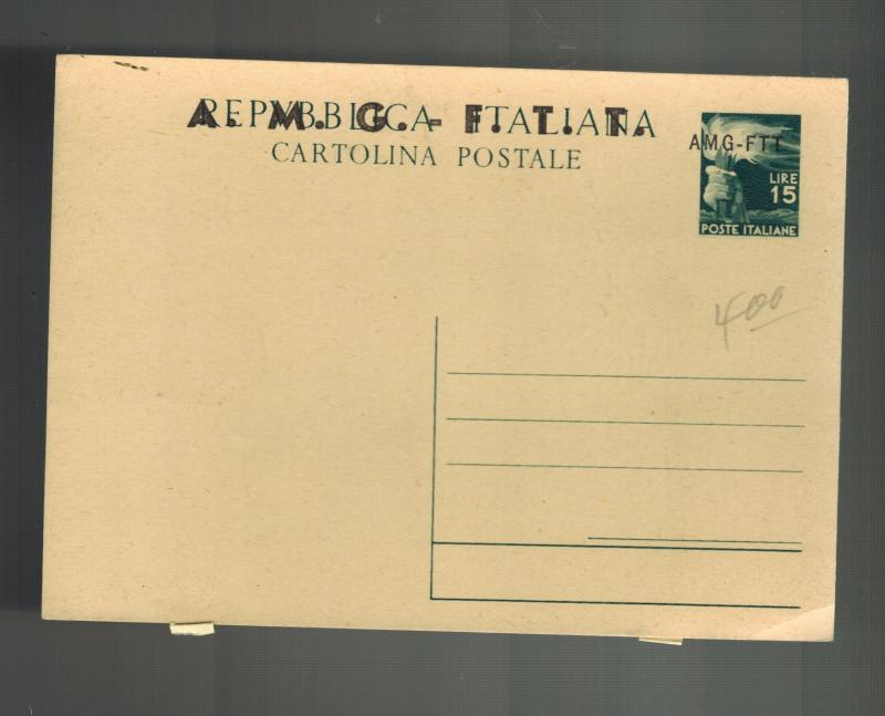Trieste Italy AMG FTT Cover Postal Stationery Postcard Large