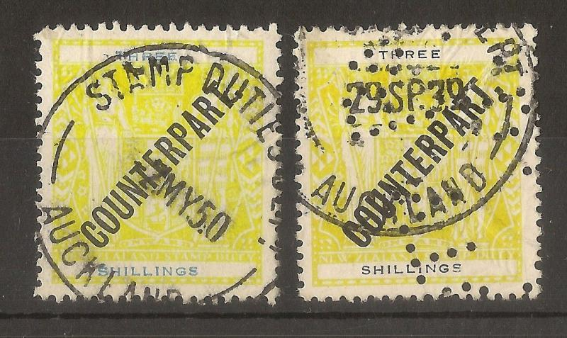 New Zealand 1932 3/- Arms Yellow & Black + Yellow & Blue - Counterpart