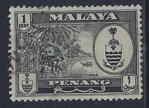 Malaya-Penang, Scott #56; 1c State Crest, Used