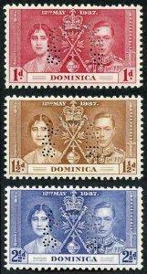 DOMINICA SG96s/8s 1937 Coronation set of 3 perf SPECIMEN (type B9) M/M
