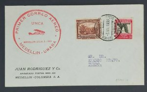 1933 Medellin to Bogota Colombia First Flight Advertising Air Mail Cover