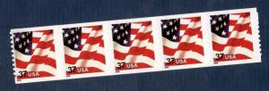 3632 Flag Strip Of 5 Dated 2002 Mint/nh (Free shipping offer)