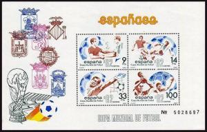 Spain 2295a-2295b sheets,MNH.Michel Bl.25-26.World Soccer Cup Spain-1982.