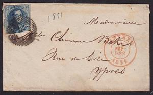 BELGIUM 1851 20c imperf on small lady's cover Anvers to Ypres...............7408