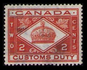 CANADA REVENUE 1914 VINTAGE 2c #FCD2 SCARCE CUSTOMS DUTY TAX VF USED STAMP (V787