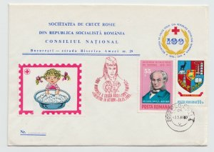 1985 ROMANIA COVER RED CROSS NURSE SPECIAL STAMP USED POST