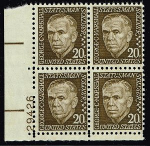 US STAMP #1289 – 1967 20c Prominent Americans George Marshall MNH PL# BLK OF 4